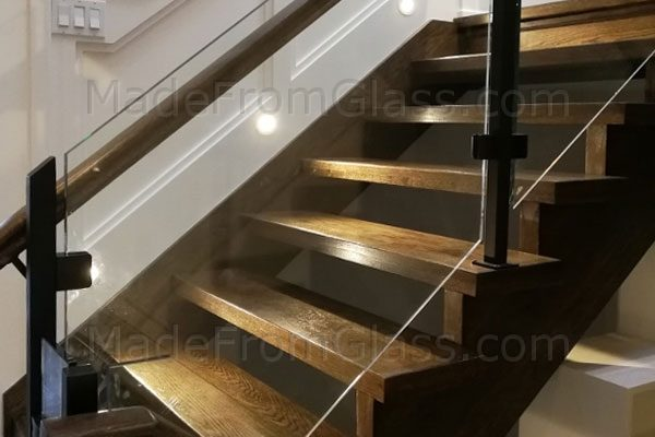 Glass Railings, Black Posts, Wood Hand Rail